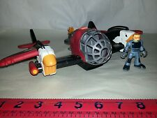 "Imaginext SKY RACER Red 13"" Twin Eagle Plane  Spins w/ Pilot"