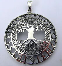 Sterling Silver (925)  Tree Of Life With Rune Writing  Pendant   !!    New !!