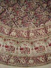 "Handmade Hand Block Print Tablecloth 100% Cotton 72"" Round Burgundy Gorgeous"