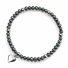 Elements Silver Peacock Blue Pearl Stretch Bracelet Silver Beads And Heart Drop