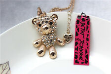 NEW Betsey Johnson Fashion Necklace lovely Crystal Bear Pendant Sweater Chain #6