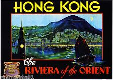 Hong Kong China Riviera Orient Vintage Travel Advertisement Art Poster Print