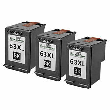 3PK Remanufactured Replacement Ink Cartridge for HP 63XL HP F6U64AN HY Black