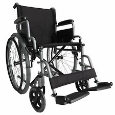 FoxHunter Silver Self Propelled Folding Lightweight Transit Wheelchair Footrest