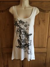 Ladies MISO White Butterfly Vest Top/Sleeveless T-Shirt Size 8 Excellent Cond
