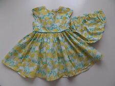 NEXT- LEMONS- VINTAGE- SOFT COTTON DRESS & PANTS SET OUTFIT BABY GIRL 6-9 MONTHS