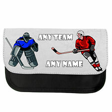 PERSONALISED ICE HOCKEY SCHOOL GIRLS BOYS PENCIL CASE / MAKE UP BAG XMAS GIFT