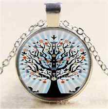 Animal Tree of life Cabochon Glass Tibet Silver Chain Pendant Necklace