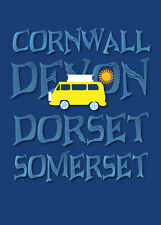 VW Campervan inspired prints, signed limited edition, the West Country, gifts