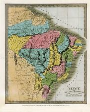 MAP ANTIQUE BURR 1834 BRAZIL GUYANA PARAGUAY LARGE REPLICA POSTER PRINT PAM0721