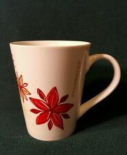 2013 Starbucks Coffee Cup Mug White with Red Flowers Fall Colors