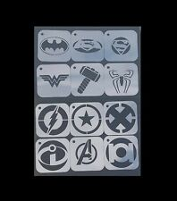 1 set de 12pcs superhéros logos batman superman wonder woman airbrush stencil