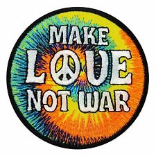 Peace - Make LOVE Not War - Embroidered Hippie Iron On Jacket Patch Applique New