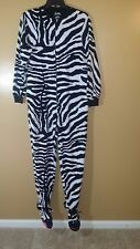Nick and Nora Ladies Footed Zebra Print Pajamas Size S Polyester