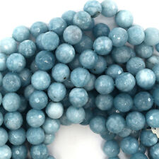 "10mm faceted blue larimar quartz round beads 15"" strand S2"