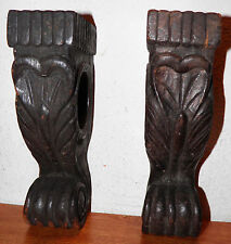 2 Antique Victorian Late 1800s Pair CORBELS Wooden Ornate Architectural Salvage