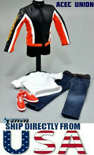 ZY TOYS 1/6 Motorcycle Leather Jacket Jeans Nike Sneakers Set - U.S.A. SELLER