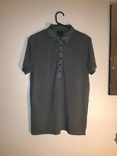 Men's Grey All Saints polo shirt Size S small