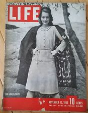 LIFE MAGAZINE NOVEMBER 15 1943 FUR-LINED COATS SIR DUDLEY POUND FUNERAL