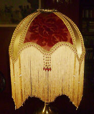 """MANDALAY"" A VICTORIAN BEADED LAMPSHADE. DEEP RED CUT VELVET & GOLD DUPION. 16"""