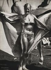 1940's Vintage 16x20 CIRCUS GOLDEN WOMAN ~ Female Body Paint Ringling Photo Art