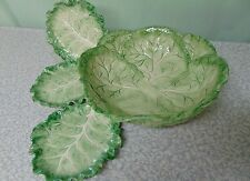 ❤ HUGE Fitz & Floyd GREEN CABBAGE LEAF Serving Bowl and Three Canape Plates