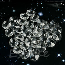 100pcs Clear Rhinestone Octagonal Beads Decoration Crystal Chandelier Parts 14mm