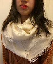 Knit Scarf Soft Warm Circle Cowl Warmer Winter Shawl Neck Scarf - Ivory Color