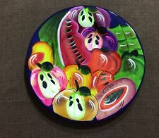Mexican Wall Plate Handpainted Clay Hanging  Talavera Folk Art Fruit Plate
