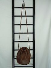 VINTAGE COACH  BROWN LEATHER DRAWSTRING BUCKET SHOULDER X BODY BAG #MADE IN USA