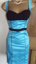 JANE NORMAN ❤️ BLUE BLACK SEXY CORSET PENCIL WIGGLE PARTY DRESS SIZE 8 10