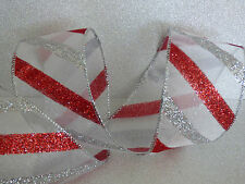 Red Sheer Glitter Sparkle Stripe Ribbon Christmas Cakes Bows Wreaths Decorations