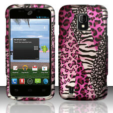Straight Talk ZTE Majesty 796C Rubberized HARD Case Snap Cover Pink Safari