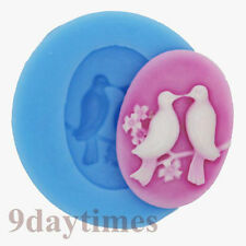 Lover Birds Cabochon Silicone Mold Mould For Polymer Clay Crafts 25x18mm A382