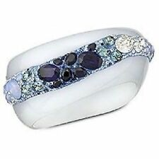 Auth SWAROVSKI GINSENG Multi BLUE Crystal SET - Bangle BRACELET, RING, EARRINGS
