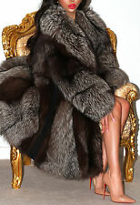 STUNNING LUSH SILVER SAGA FOX REAL FUR COAT JACKET L XL ABSOLUTELY GORGEOUS!