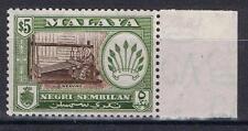 Malaya Negri Sembilan 1957 Definitive $5 perf 13 x 12½  SG 79a  MNH