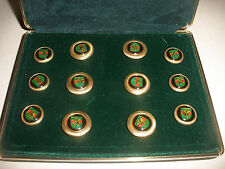 Vintage mens accessory 12 enamel crest buttons set boxed by Mario Pieralli Italy