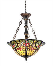 Tiffany Style Victorian Stained Cut Glass Reverse Pendant Hanging Ceiling Lamp