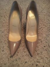 Christian Louboutin Size 39 Authentic Patent Leather Nude Tan Heels Stilletos