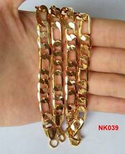 """Fine 1pc LF 18K Gold Plated 8mm Cool Mens Wide Figaro Link Chain Necklace 22"""""""