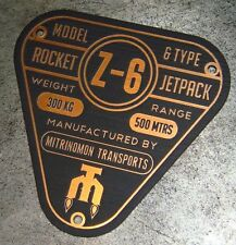 CUSTOM Z-6 ROCKET JETPACK SPECIFICATIONS DATA PLATE STAR WARS BOBA FETT JET PACK
