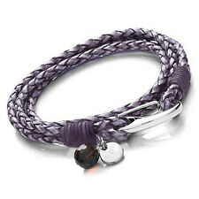 Tribal Steel 19cm Ladies Violet / Purple Double Wrap-Around Leather Bracelet