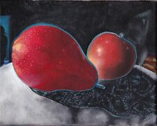 RED PEAR APPLE SURREAL STILL LIFE ORIGINAL OIL PAINTING DARK 8X10 by D Warren
