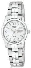 Citizen Quartz Day Date Stainless Steel Silver Dial Women's Watch EQ0540-57A
