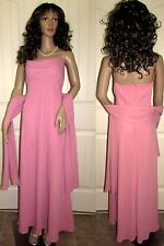 Long Pink Formal Evening Gown Mother Bride Dress Bridesmaid Party Scarf Pink 10