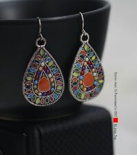Boucles d`Oreilles Argenté Metal Goutte Multicolore Orange Class Original EE 7