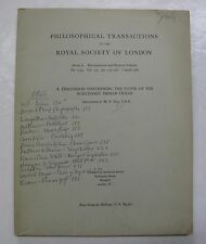 Royal Society of London Math Physical Science Northwest Indian Ocean Floor 1966