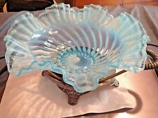 Vintage Opalescent Optic Swirl Bride's Basket with Pairpoint Stand