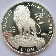 Togo 2000 Lion 500 Francs Silver Coin,Proof
